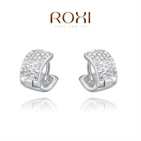 2014 ROXI new arrival women earrings round platinum plated with white crystal feeshipping