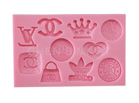 Free Shipping 1 pc 90G Logo Collection Badge Famous Fasion Silicone Mould Cake Decorating Fondant Sugarcraft Mold