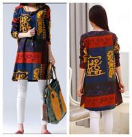 new fashion spring autumn cotton linen plus size vintage print vestidos femininas women casual loose dress party dresses 2015