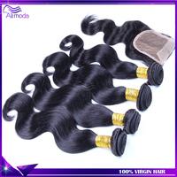 Malaysian Virgin hair body wave 3pcs human hair bundles with lace closure Rosa hair  Malaysian body wave silk base closure