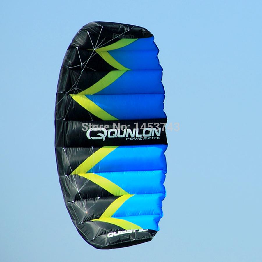 FREE SHIPPING High Quality Power Kites 2 Sqm Q2 Power Dual Line Parachute Kite / Blue / High Quality / Outdoor Sports / Playing(China (Mainland))