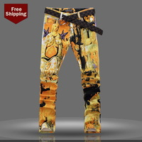 top Quality Men's jeans colored drawing jeans slim flower elastic pants personalized holy Mary print denim jeans Free shipping