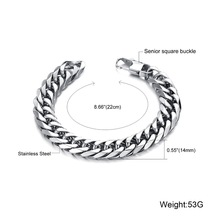 Fashion Jewelry Stainless Steel Titanium Love Bracelet Silver Scales Chains Men Big Bangle Bracelet 14 mm