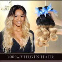 Ombre Hair Extensions Peruvian Virgin Hair Body Wave Two Tone Natural Black Blonde 1B/27# Cheap Remy Human Hair Weave 3/4Pcs Lot