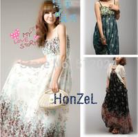 Hotsale 2014 women's summer beach dress  bohemian floral chiffon dress  drop shipping