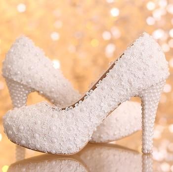 2015 новый платформа красивые жемчужина кружева белый свадебные туфли женщины туфли ...