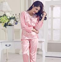 New Fashion Autumn Home Clothing Pijamas Femininos Sleepwear Ladies Nightwear Suit 2014 Casual Women Silk Pajamas Sets For Sleep