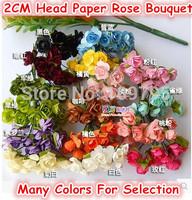 Stock!! 2CM Head Wedding Candy Box Paper Flower Artificial Rose W/Stem Handmade Mulberry Scrapbooking