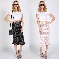 Brand New Skirts Womens Fashion Slim Polka Dot Ruffle Hem Straight High Waist Skirt Chiffon Long Skirt Plus Size S-XXL Z46