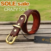 New arrival The Large Pet Dog collar leash Leather Puppy Traction collars soft Brass buckle genuine cowhide for Big dogs
