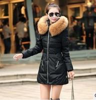2014 Winter Jacket Women Coat Thicken Slim Female Fur Collar Long Winter Coat Casual Parka Women Plus Size Free Shipping hf148