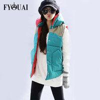 FYOUAI New Fashion 2014 Winter With Hooded Short Design Wadded Jacket Large Down Jacket Cotton-Padded Collar Women vest
