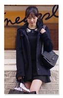 New 2014 Women's Wool Coat Brand Hooded Wool Coat Blue / Grey  Casacos Femininos Winter Women Outwear S-XXL