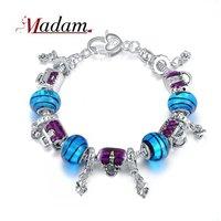2014 Latest Fashion purple handbag bracelet for women with rhinestone and resin silver plated bracelet jewelry Christmas Gift