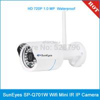 SunEyes SP-Q701W H.264 HD 720P ONVIF Mini Wireless Outdoor Waterproof IP66 IP Camera, 1.0 Mega Pixels HD CCTV Camera