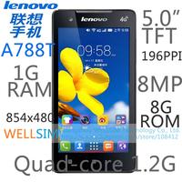 Original Lenovo A788T Multi language Mobile phone 5.0IPS 854x480 PXA1920 Quadcore1.2G 1GRAM 8GROM Android4.3 8MP