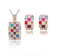 2014 New Fashion Austrian Crystal Zircon Necklace/Drop Earrings Queen Jewelry Set ,TZ-1020A