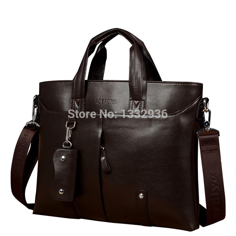 Top quality! 2015 new men's handbags soft leather PU tote male shoulder bag vintage black briefcase messenger bags big promotion(China (Mainland))