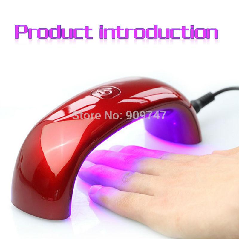 2014 Portable 9W 100-240V LED Light Bridge shaped Mini Curing Nail Dryer Nail Art Lamp Care Machine for UV Gel EU Plug(China (Mainland))