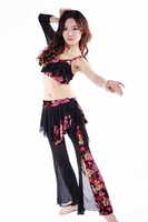 Good quality flowers painted practice belly dance trousers with top 2pcs free shipping