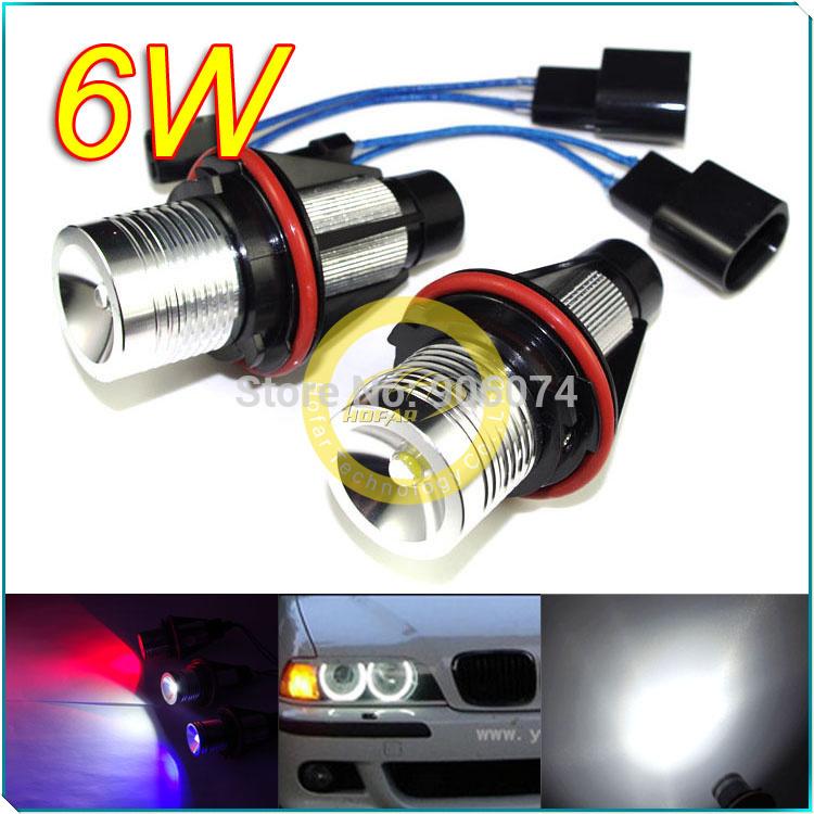 2X E39 6W 7000k Daytime Running Light Headlight White/Blue/Red Angel Eyes LED MARKER FOR BMW 760Li B7 ALPINA X3 X5 FREESHIPPING(Hong Kong)