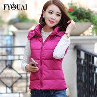 FYOUAI Down Waistcoat Women's hooded New Fashion 2014 Slim Warmth Casual Winter Coat Women Outdoor Ladies Vest Plus Size L-3XL