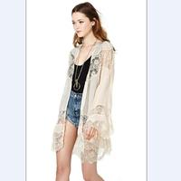 2014 new fashion women's lace kimono ladies cardigan dress chiffon long sleeves Euramerican stylish robe hf001