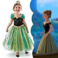 2-7 yrs Frozen Dress Elsa & Anna Summer Dress For Girl 2014 New Hot Princess Dresses Girls Dress Children Clothing Kids Wear