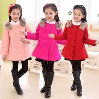 Korean children's clothing new product winter fur shoulder double-breasted woolen coat Warm winter outerwear of kid girls