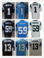 Wholesale Stitched Carolina #1 Cam Newton #59 Luke Kuechly #13 Kelvin Benjamin Blue Black White Elite Football Jersey.