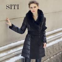 SITI S-XXXL long thick luxury furs jacket womens new 2014 brand duck down fox fur black belt parka high quality 12DC00101
