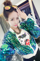 [SP10] Hot Sale 2014 Fashion Sequin Baseball Jacket Short Jackets Letter Print Zipper Cardigans Outerwear Fast Shipping