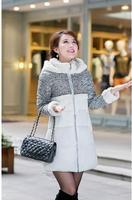 2014 winter new lambs wool hooded jacket Girls long mixed colors Slim Down YRF107 R1P
