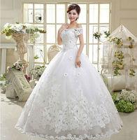 2015 New 100% Actual Images Floor-Length Vintage Slim Bandage Flat Shouders Crystal Lace Maxi Wedding Dress WD047