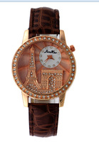 Women Dress Watches Tower Arc de Triomphe Casual Watch Rose Gold CaiQi Analog Crystal Hours Ladies Quartz watches