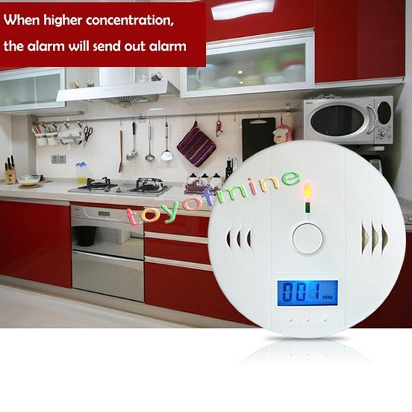 Carbon Monoxide Detector Sensor Unit LCD CO Alarm Tester White Poisoning Battery(China (Mainland))