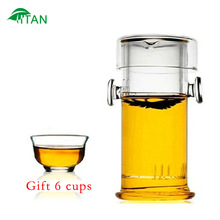 Free shipping.190ml heat-resistant glass cylindrical convenient office teapot,coffeepot,mug,teakettle,cup,tea set.gift 6 cups.