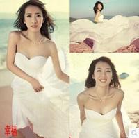 2015 Fashion Romantic Sexy White Beach Wedding Dress Chiffon Bridal Wedding Belt  Women Summer Dresses Custom Made Free Shipping