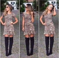 Summer Autumn 2014 New Women Sexy Casual Leopard Print O-Neck Short Sleeve Dress Ruffles Novelty Slim Hip Mini Party Dress