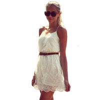 High Quality Sexy Chiffon Lace Women Summer Dress 2014 New Desigual Hollow Out Spaghetti Strap Girl Dress Plus Size White Color