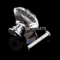 Free Shipping 10pcs/lot diamond shape door knob Cupboard Drawer Pull Handle crystal