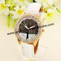 100pcs/lot HY- Wholesale Fashion  PU Leather Apple Tree Watch Woman Diamond Wrist Watches Hot Sale Woman Dress Watches