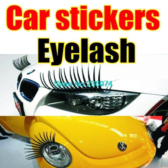 1 pair Headlight eyelashes car false eyelashes affixed lights electric eye brows ( 2 installed ) A1-8 car stickers Eyelash(China (Mainland))