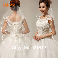2015 Free Shipping High Quality Wholesale Hot Sell White Appliquine Edge Party Prom Wedding dress Accessories Bridal Veils BV01