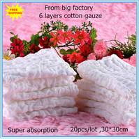 Free shipping 20pcs/lot 30x30cm 6layer cotton Baby Gauze muslin Washcloth Baby Wipe Sweat Absorbing baby towel,soft Handkerchief