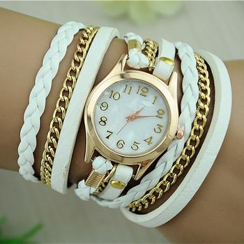 Новые модные ретро винтаж женские наручные кварцевые часы с золотым циферблатом и кожаным ремешком, BW-SB-1071