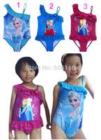 Retail New 2014 Children/kids/girls Frozen one piece swimsuit/swimwear/ beach wear/Surfing/swimming wear/bathing suit/Beach Surf