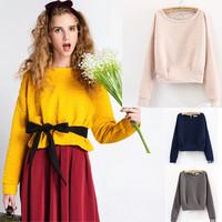 Korean plus size short sweatshirt embroidery pink pullover women bat long sleeve Japan character fashion coat Free ship