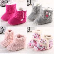 2014 bebé de invierno Knited Faux Fleece Cuna Botas de nieve de lana Yam recién nacido Piel Knit Zapatos(China (Mainland))