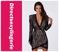 2014 New Fashion Black Eyelash Lace Wrap over Mini Dress LC21694 Autumn Spring Women Clothing vestido de festa Sexy Dress